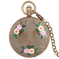 Carving Blume Muster Retro Automatische-hand-winding Mechanische Taschenuhr Männer Luxus Fob Uhren mit Kette Unisex Uhr geschenke