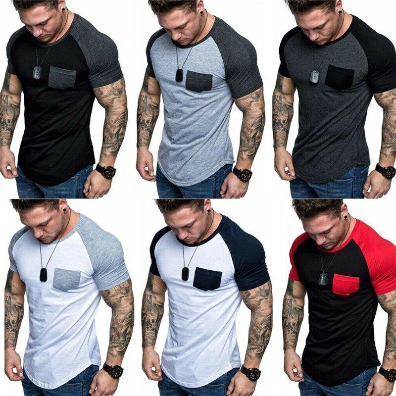Men Short Sleeve Slim Fit T-Shirt Summer Casual Muscle Pocket Tops