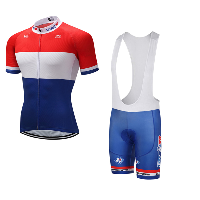 2017 fdj/ale Cycling Clothing Bike jersey Quick Dry Mens Bicycle clothes mens summer team Cycling Jerseys gel bike shorts set