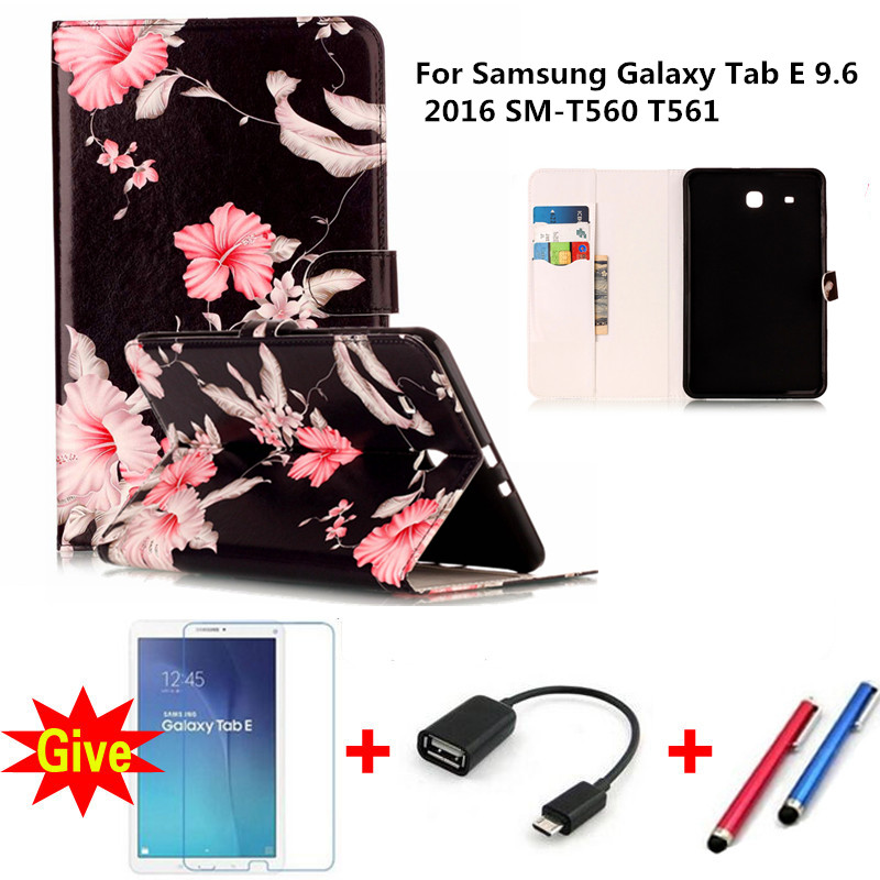 Fashion Marble Pattern Cover For Samsung Galaxy Tab E 9.6 2016 SM-T560 T561 Funda Tablets Silicon PU Leather Stand cover+Gifts планшет samsung galaxy tab e 9 6 8gb 3g black sm t561
