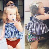 2Colors Newborn Infant Baby Girls Top Shirts Short MIni Dress Clothes Outfits Summer Plaid Cute Sunsuit For 0-4Y