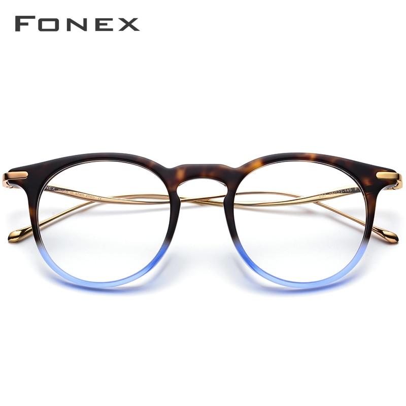 B titane acétate optique lunettes cadre hommes Vintage Prescription lunettes 2019 femmes rétro ronde myopie lunettes de vue 857 - 2