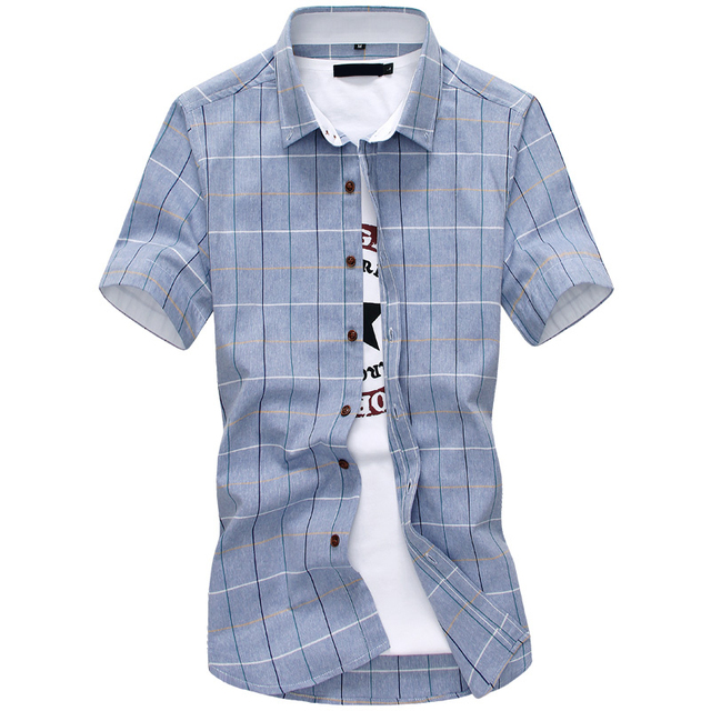 619cb9298304d New Arrival Men Shirt Plaid Casual Cotton Quality Dress Shirt Short Sleeve  Chemise Homme Slim Fit
