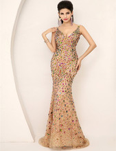 Heißer Verkauf Sexy Lange Abendkleider Champagne Bunte Spaghetti-trägern Kristall Perlen Frauen Abendkleider Party Kleider