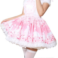 Cherry Blossoms & Rabbit Lolita Skirt Sweet bloomers loli Girls Women Magic Tea Party Vestidos Pink Lace Doll Lolita Skirts