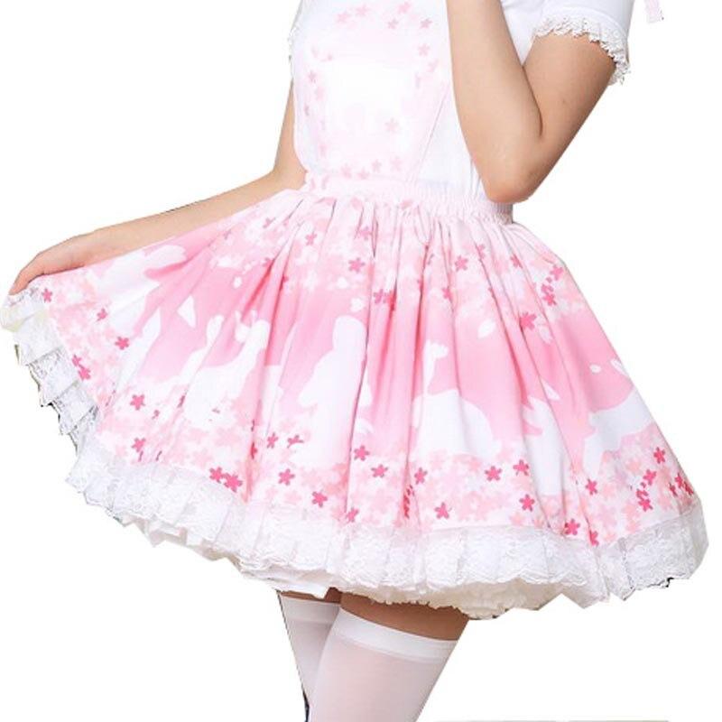 Fleurs de cerisier & lapin Lolita jupe doux bloomers loli filles femmes magique thé fête Vestidos rose dentelle poupée Lolita jupes