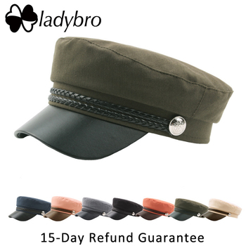 Ladybro Autumn Winter Hat Women Military Hat PU Men Snapback Cap Female Beret Hat Male Casquette Lady Octagonal Cap Rope Flat