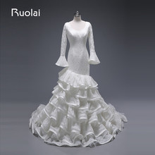 Real Photo 2016 O-Neck Long Sleeves with Ruffles Elegant Lace Mermaid Wedding Dress White Bridal Gown Robe de Mariage WED3