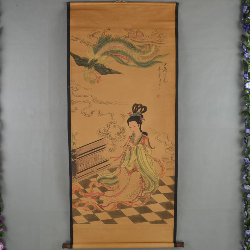 Chinese Qing Dyansty Scroll Painting Beauty Piper & Phoenix, Free shippingChinese Qing Dyansty Scroll Painting Beauty Piper & Phoenix, Free shipping