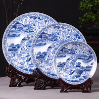 Jingdezhen Beautiful Rivers And Mountains ceramic decorative plate hanging plate decoration plate wall landscape painting