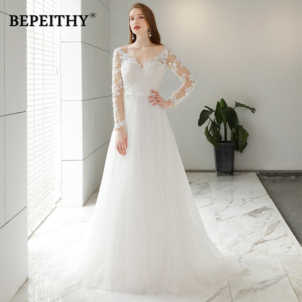 Vestido De Novia Beach Wedding Dress Sexy Backless 2020 New Design Full Sleeves Lace Bridal Dresses Hot Sale