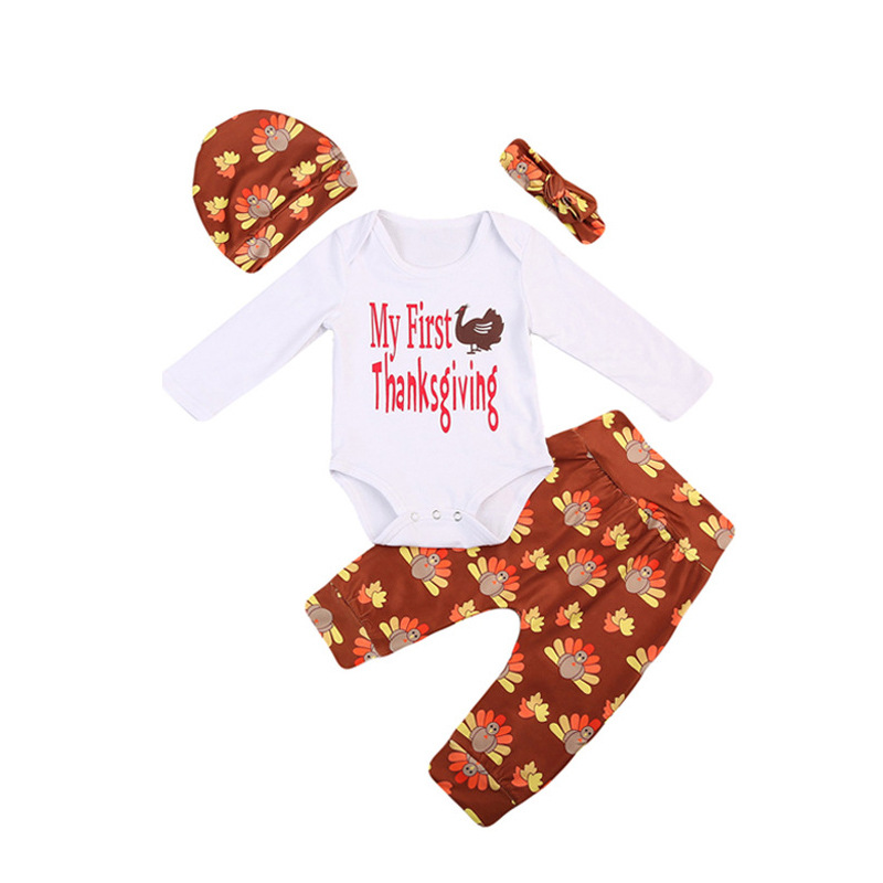 Godier Newborn Infant Baby Boy Girl Clothes Cute Cartoon Cotton Romper + Pant + Headband + Hat 4pcs Bebe Outfit Kid Clothing Set