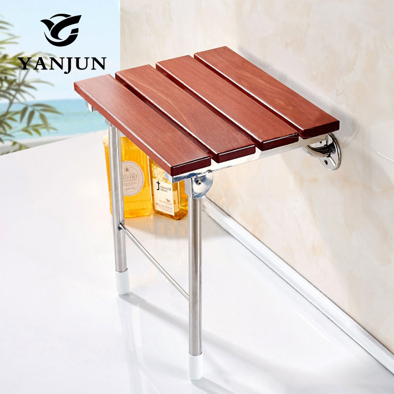 Yanjun Wood Folding Bath Shower Seat Wall Mounted Relaxation Shower Chair Solid Seat Spa Bench