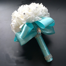 Wedding Flower Bouquet White Rose Crystal Bride Bridesmaid Girl Wand Best Floral