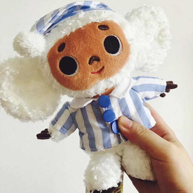 Cute Cheburashka Plush Toy Big Eyes Monkey With Clothes Soft Doll Russia Anime Baby Kids Sleep Appease Doll Toys For Children