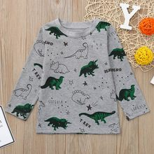 Children Boys Girls Long Sleeves Cartoon Dinosaur Printed T-shirt Top Clothes animals first birthday t-shirt baby meisjes shirts(China)