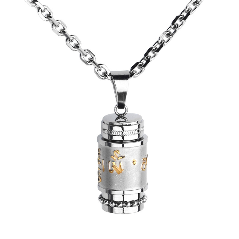 Stainless Steel Buddhist Pray Necklace Om Mani Padme Hum Pendant Urn Bottle