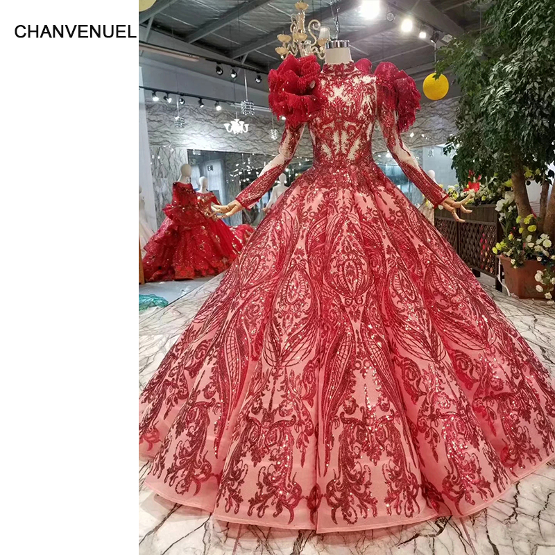 LS11260 new fashion red   evening     dresses   with detachable shoulder decoration long sleeves muslim bridal wedding party   dresses