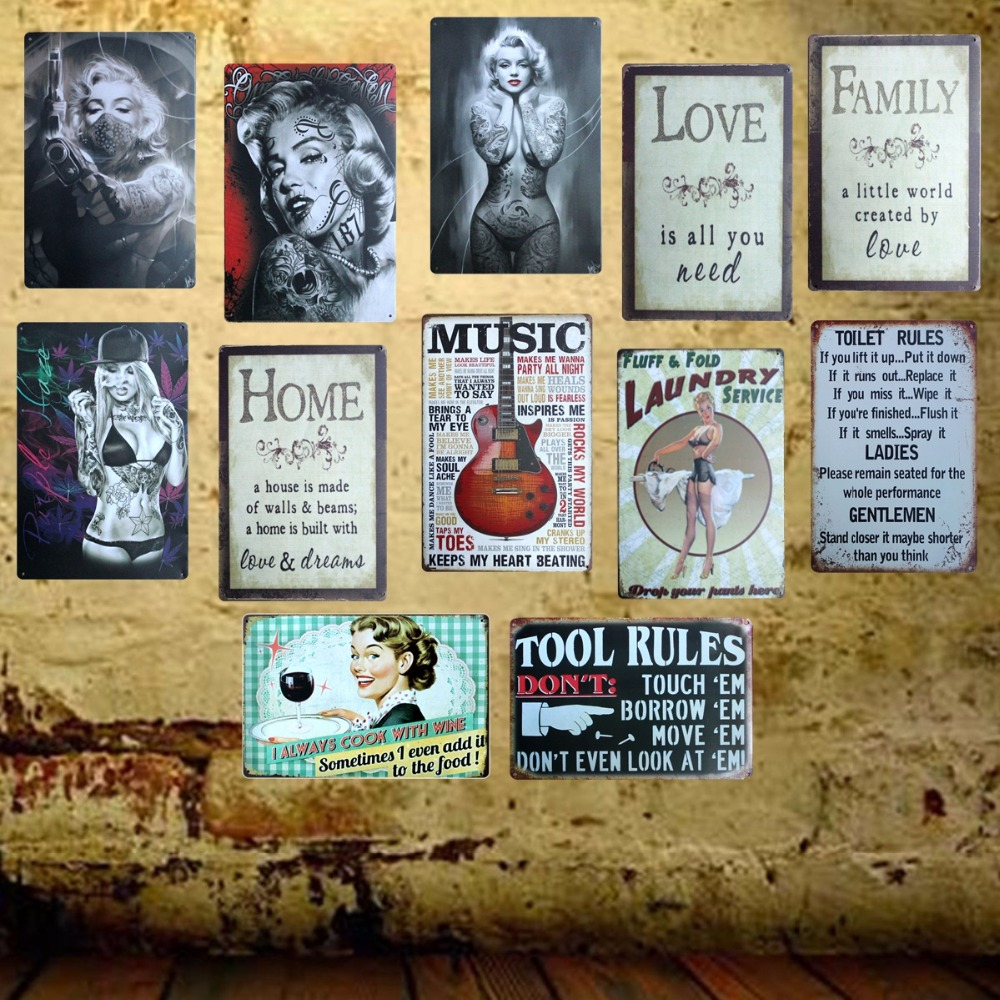 Mike86 toilet rules retro metal signs decor home pub for Party wall regulations