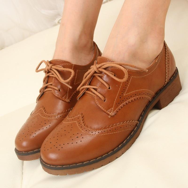 MÁS EL Tamaño 34-43 Brogue Oxford Zapatos Mujeres de Los Planos de Nueva Primave