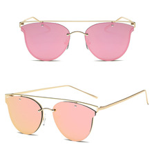 2017 Cat Eye Sunglasses Women Vintage Fashion Rose Gold Mirror Sun Glasses Unique Flat Ladies Sunglasses Oculos UV400 Free Ship