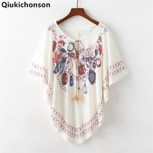Qiukichonson Women Batwing Tops Summer 2018 Bohemian Style Ethnic Loose Lace up Blouses Ladies Jewel Flower Print Cloak Tops