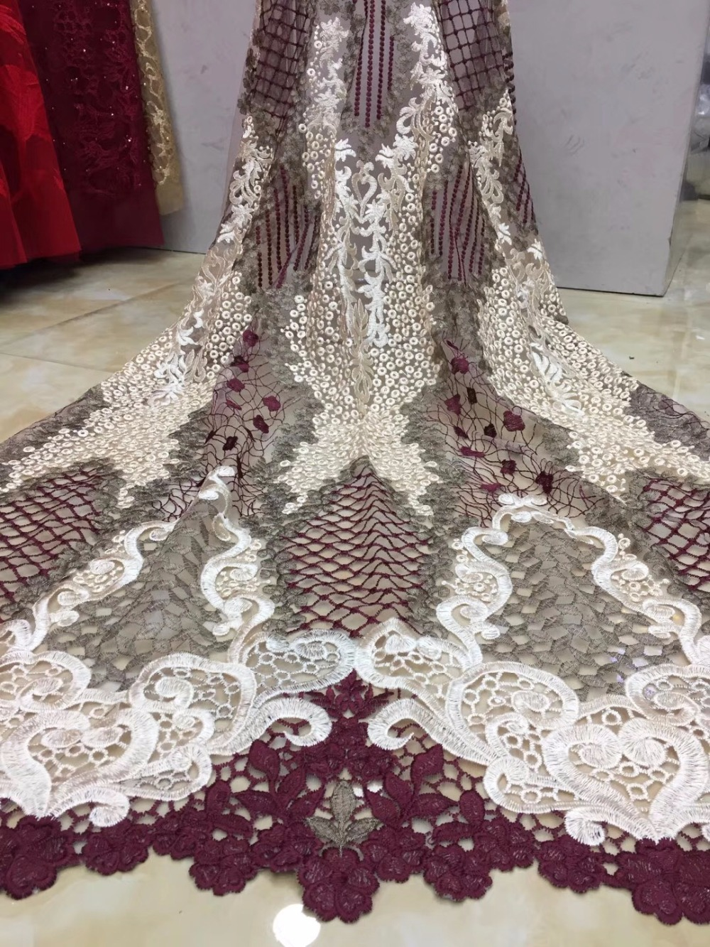 2019 High Quality Nigerian Lace Fabrics African French Net Lace Fabric Embroidered Tulle Mesh Lace Fabric-in Lace from Home & Garden    3