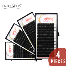 NEWCOME 4case/Set,Individual Eyelash Extension Korean Silk Volume False Individual Eye Lashes for Makeup Professionals