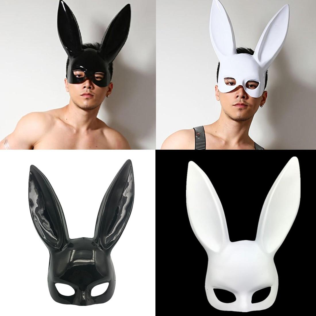 Mark Black Women Girl Sexy Rabbit Ears Mask Cute Bunny Long Ears Bondage Mask Halloween Masquerade Party Costume Props