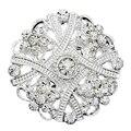Moda jóias de Prata Pequeno Broche de Flor pins up Cristal Bouquet broches de Strass brocheS para o casamento mulheres