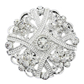 fashion jewelry Small Silver Brooch Flower Bouquet brooches Rhinestone lapel pins up Crystal brocheS for women wedding