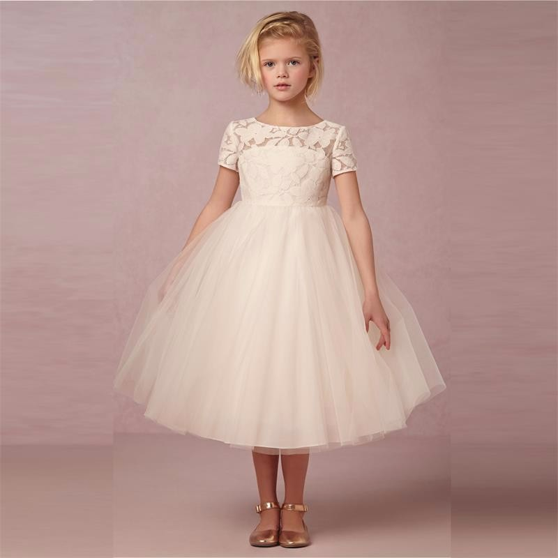 Flower Girls Dresses With Short Sleeve 2016 Ball Gown