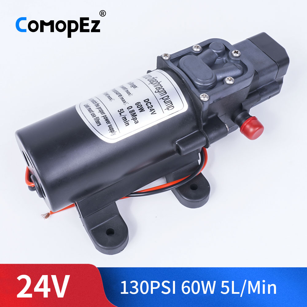 DC 24V 60W 130PSI 5L / Min Water High Pressure Diaphragm Pump Self-Priming Pump Automatic Switch For Garden Wagon