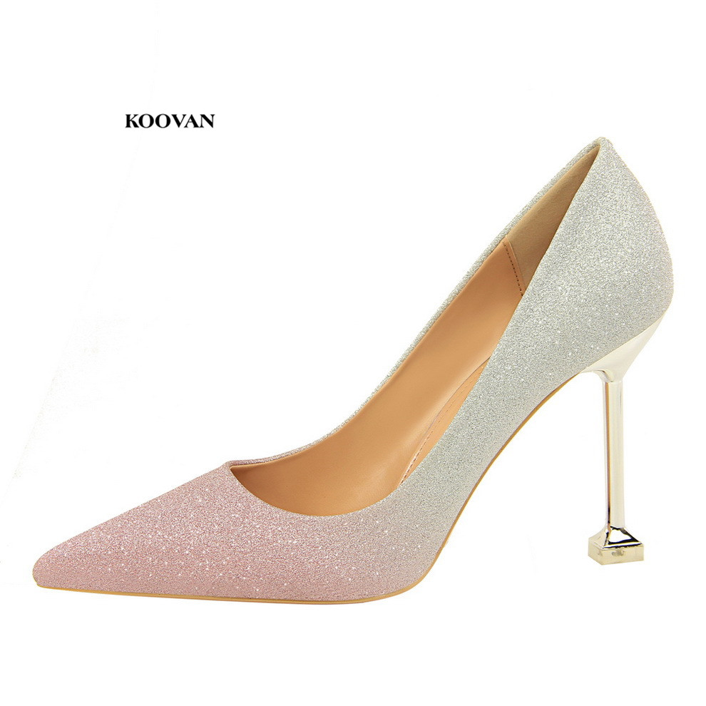 Koovan Womens Pumps 2018 New Fashion High-heel Shallow Bring Sequins Mixed Colorful Shiny Gradient Sexy Womens Singles Shoes