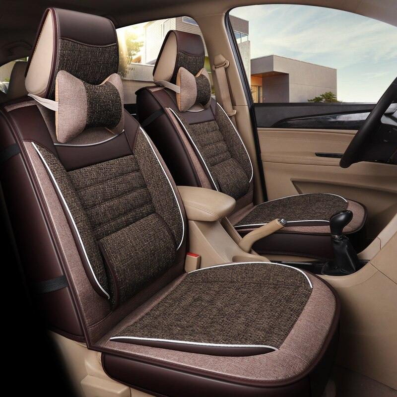 2019 nouveauté pas se déplace 4 saisons lin siège de voiture coussin lin mode universel siège couvre non toboggan auto coussins de siège - 2