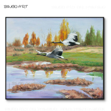 Artist Hand-painted High Quality Impressionist 2 Birds Flying Landscape Oil Painting Beauty Red-crowned Crane