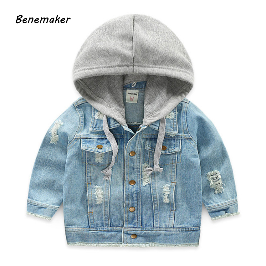 Benemaker Denim Jackets For Boys Autumn Trench Children's Clothing 3-8Y Hooded Outerwear Windbreaker Baby Kids Jeans Coats JH021 1