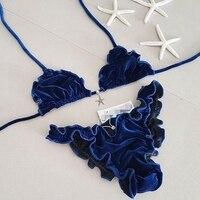 Sexy Solid Strappy Bandage Bikini Set Blue Push Up Bikini Swimwear Bandeau Brazilian Thong Swimsuit Bathing