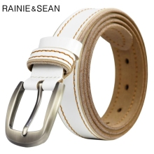 RAINIE SEAN White Women Belt For Jeans Genuine Leather Casual Pin Buckle Real Ladies Wasit Trousers