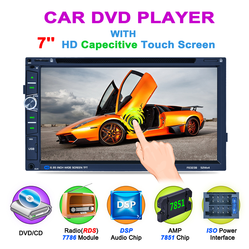 F6323B 6.95 inches 2DIN Car Radio DVD Player BT/FM/AM/RDS Radio Tuner DSP Audio IC Capacitive Touch Screen Car Multimedia Player image