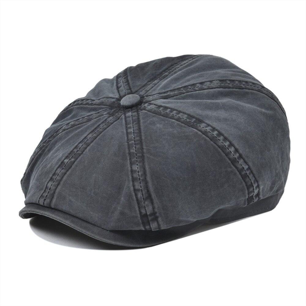 Voboom preto lavado algodão newsboy boné 8 painel plana ivy boné verão luz tecidos gatsby chapéu retro cabbie chapéus 160