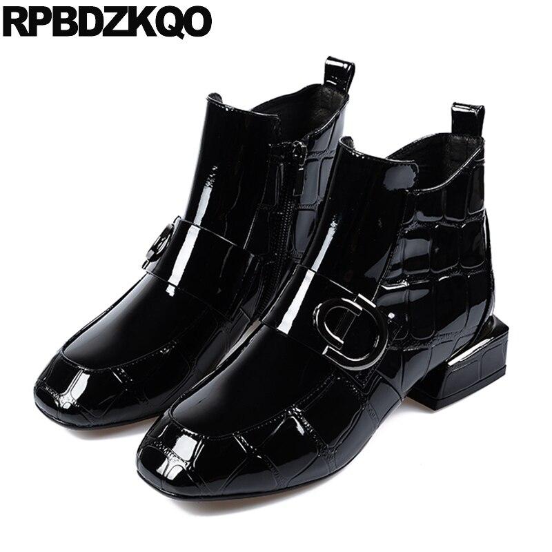 где купить Short Black Autumn Ankle Patent Leather Fur Winter Waterproof Boots Women Square Toe Zipper Metal Fashion Shoes 2017 Ladies по лучшей цене