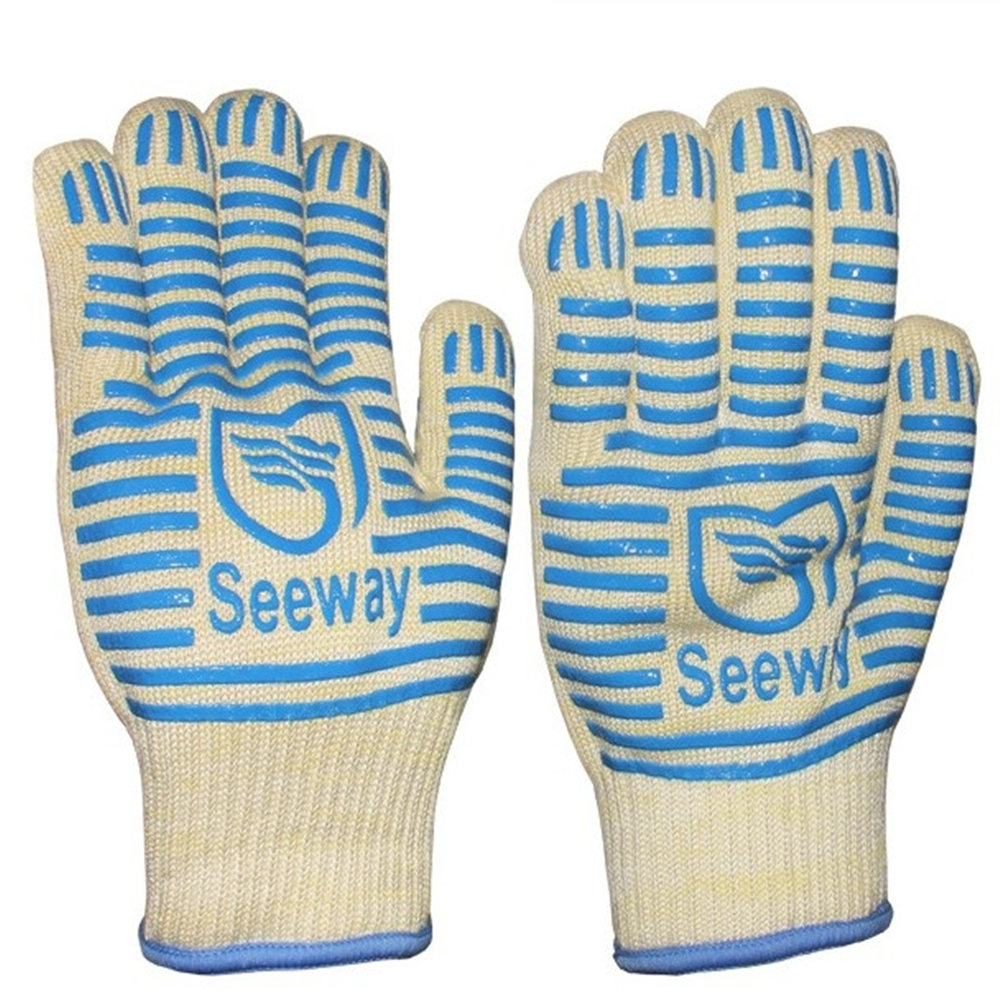 Double-sided silicone high temperature 500 degrees short aramid non-slip wear-resistant barbecue baking microwave gloves