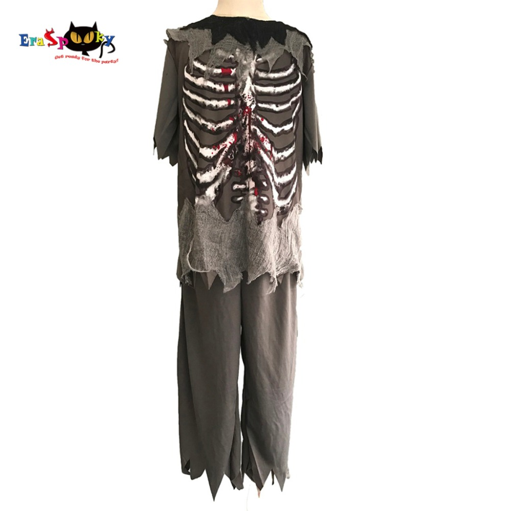 Boys Zombie Costume Kids Ghost Halloween Costumes Child Scary Bloody Skeleton Party Cosplay Fancy Dress Outfits Clothing For Improving Blood Circulation