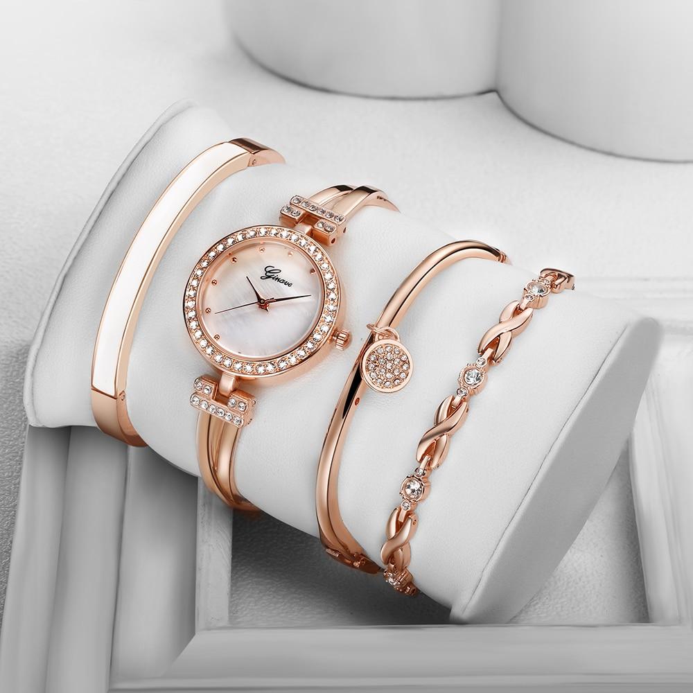 4 шт., элегантные часы-браслет, женские роскошные модные кварцевые часы, наручные часы, розовое золото, бриллианты, часы для женщин, часы Orologio