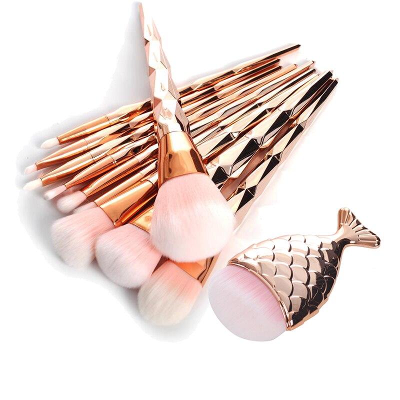 11 Pcs Diamant Or Rose Maquillage Brush Set Sirène En Queue de poisson En Forme de Fondation Poudre Cosmétiques Brosses Arc-En-Fard À Paupières Brosse Kit