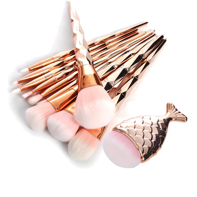 11Pcs Best Professional Makeup Brush Set Diamond Rose Gold Mermaid Fishtail
