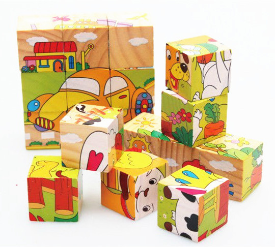Baby Toys Children 3D Cartoon Animal Puzzle Wooden Toys 6Sides Wisdom Jigsaw Educational Toys Parent Child