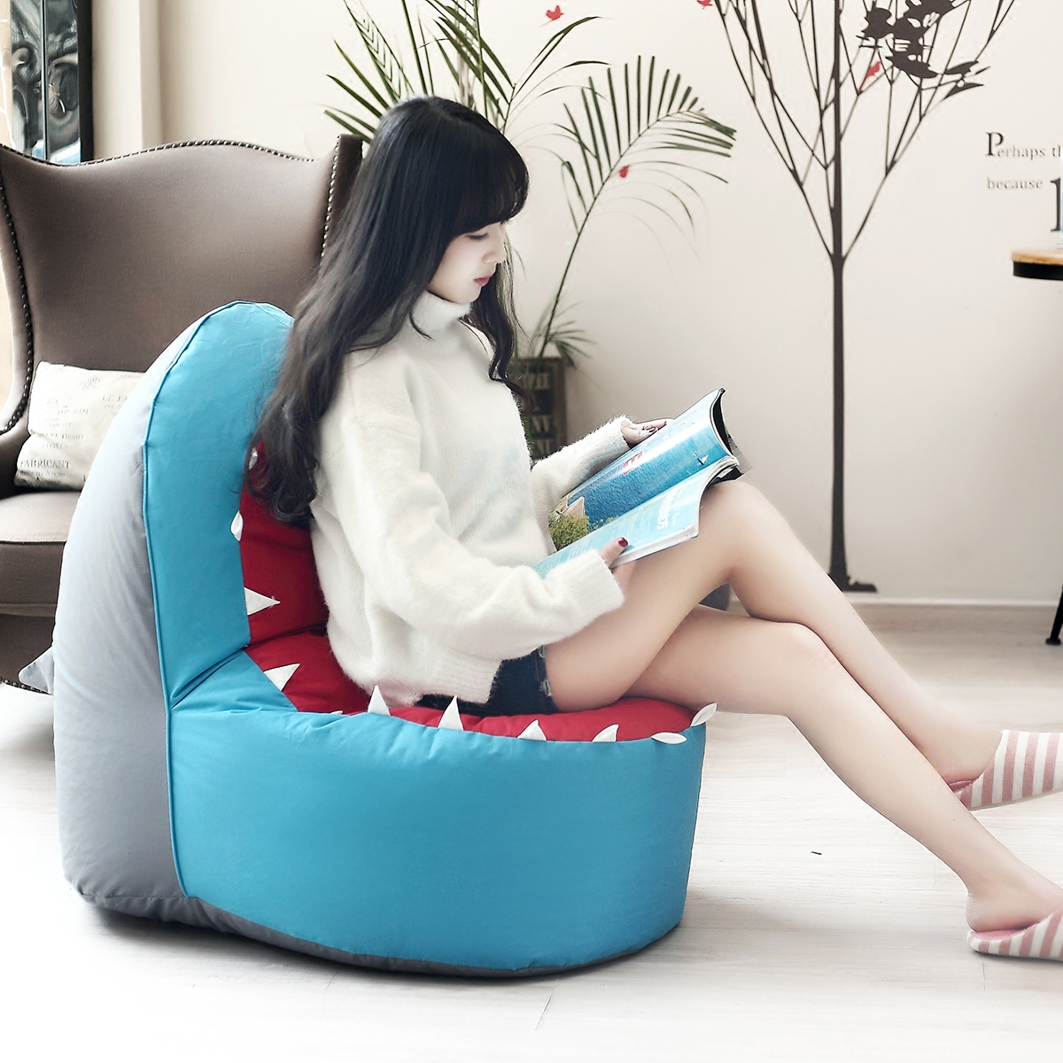 Leisure Bean Bag Chair Sofa Children Single Cartoon Art Shark Lazy Creative Bed Couch Rice Animal Seat In Baby Seats From