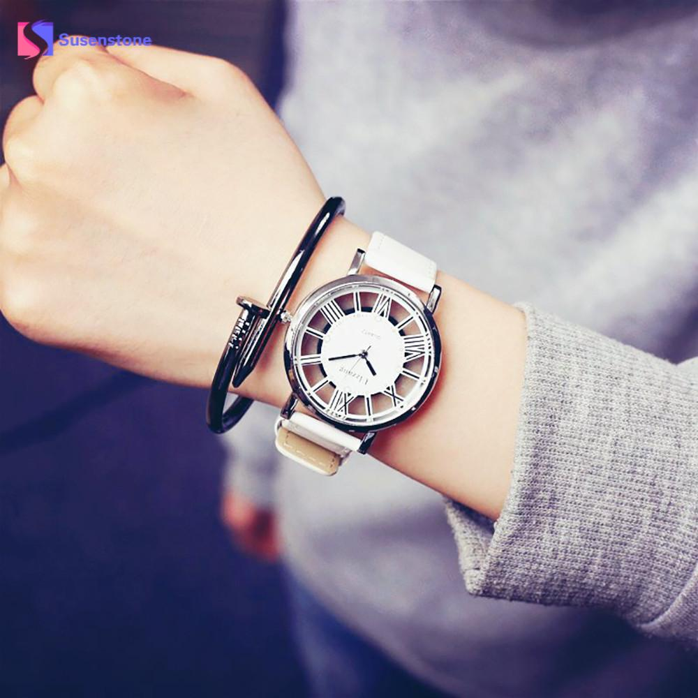 Fashion Brand Women Men Lover's Watch Luxury Quartz Wristwatches Neutral Fashion Personality Simple Unique Hollow Watch For Girl